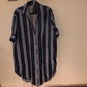 Acne Studios Blue Silk Shirt Dress